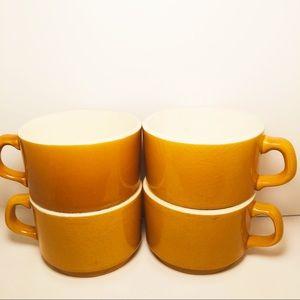 4 Vintage Mid Century Modern Porcelain Coffee Cups